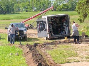 Ditch being dug